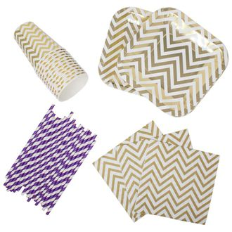 182pcs Graduation Tableware Set (Color: Purple & Gold) - Premier