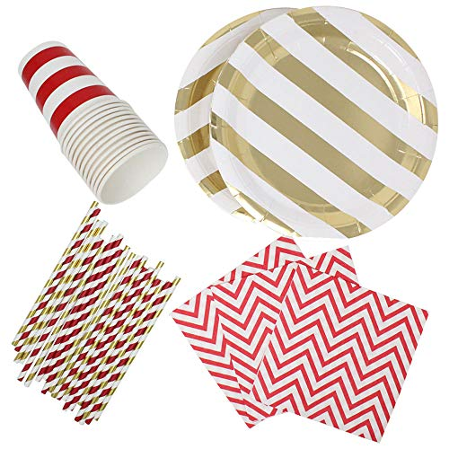 182pcs Graduation Tableware Set (Color: Red & Gold) - Premier
