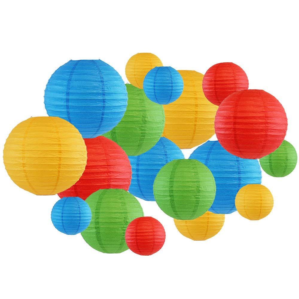 18pcs Assorted Size Round Decorative Paper Lanterns (Blue, Green, Red & Pineapple) - Premier