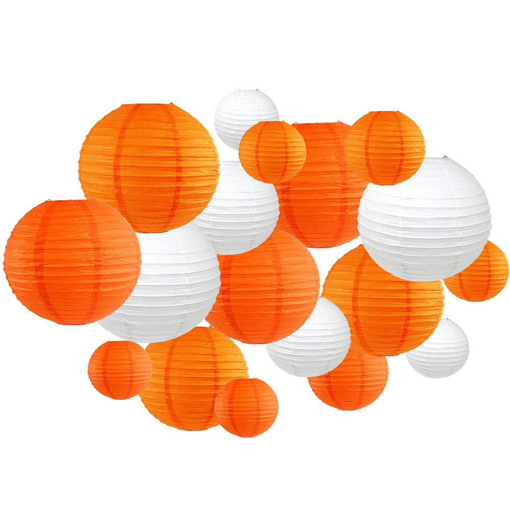 18pcs Assorted Size Round Decorative Paper Lanterns (Oranges & White) - Premier