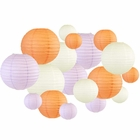 18pcs Assorted Size Round Decorative Paper Lanterns (Peach & Lavender) - Premier