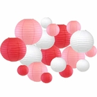 18pcs Assorted Size Round Decorative Paper Lanterns (Pinks & White) - Premier