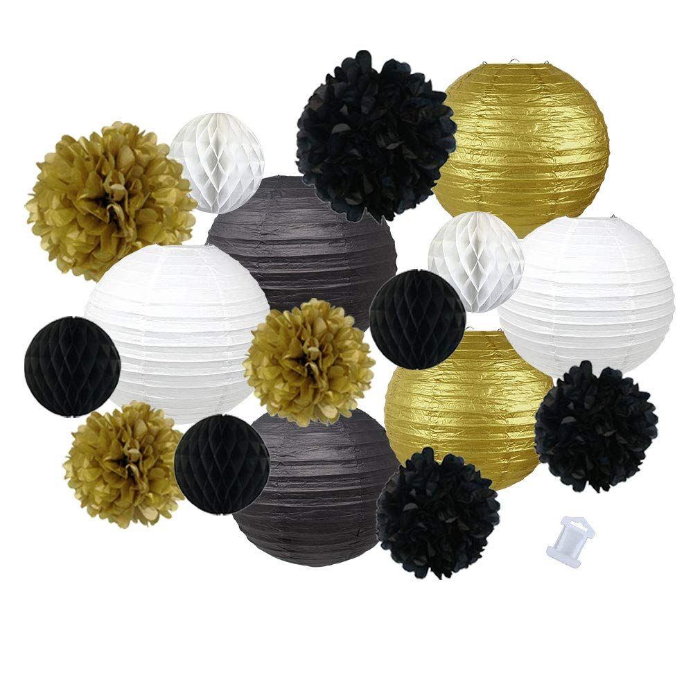 18pcs Hanging Paper Lantern Decoration Kit for Graduations (18pcs, Black & Gold) - Premier