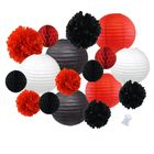 18pcs Hanging Paper Lantern Decoration Kit for Graduations (18pcs, Black & Red) - Premier