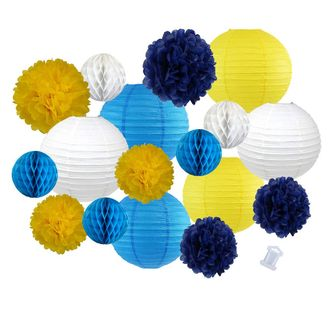 18pcs Hanging Paper Lantern Decoration Kit for Graduations (18pcs, Blue & Yellow) - Premier