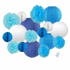 18pcs Hanging Paper Lantern Decoration Kit for Graduations (18pcs, Blues) - Premier