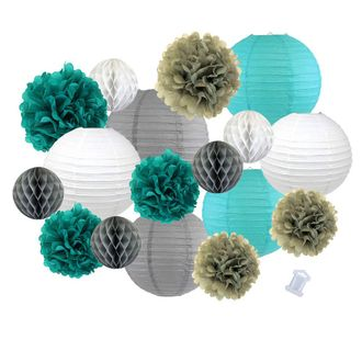 18pcs Hanging Paper Lantern Decoration Kit for Graduations (18pcs, Grey & Aqua) - Premier