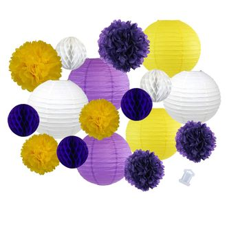 18pcs Hanging Paper Lantern Decoration Kit for Graduations (18pcs, Purple & Yellow) - Premier