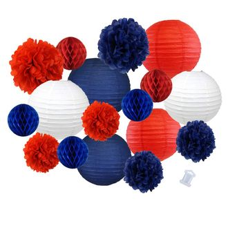 18pcs Hanging Paper Lantern Decoration Kit for Graduations (18pcs, Red & Blue) - Premier