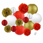 18pcs Hanging Paper Lantern Decoration Kit for Graduations (18pcs, Red & Gold) - Premier