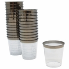1oz Plastic Shot Glasses 120pcs Metallic Dark Silver Rim - Premier
