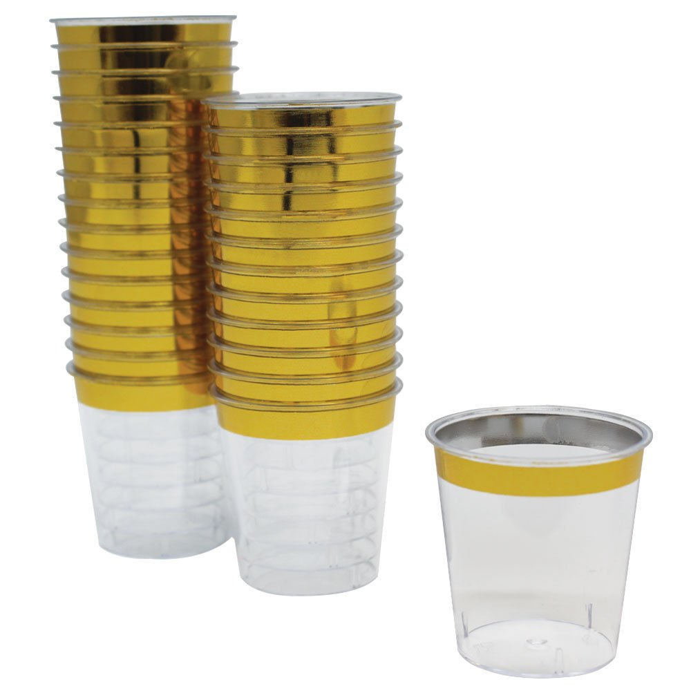 1oz Plastic Shot Glasses 120pcs Metallic Gold Rim - Premier
