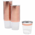 1oz Plastic Shot Glasses 120pcs Metallic Rose Gold Rim - Premier