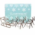 1pc Sleigh and 5pc Reindeer Tea Light Candle Holders (6pcs Kit, Bronze) - Festive Holiday Decor for Christmas - Premier