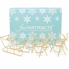1pc Sleigh and 5pc Reindeer Tea Light Candle Holders (6pcs Kit, Gold) - Festive Holiday Decor for Christmas - Premier