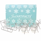 1pc Sleigh and 5pc Reindeer Tea Light Candle Holders (6pcs Kit, Silver) - Festive Holiday Decor for Christmas - Premier