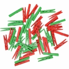 2.75-inch Craft Wood Clothespins/Peg Pins (100pcs, Kelly Green & Red) - Premier