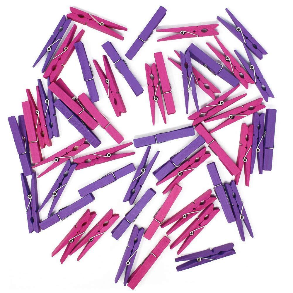 2.75-inch Craft Wood Clothespins/Peg Pins (100pcs, Magenta & Purple) - Premier
