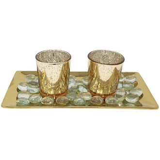 2 Candle Holder Set with Glass Metallic Gold Tray and Beads Mercury Glass Gold