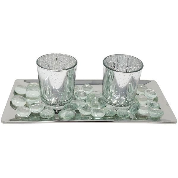 2 Candle Holder Set with Glass Metallic Silver Tray and Beads Mercury Glass Silver