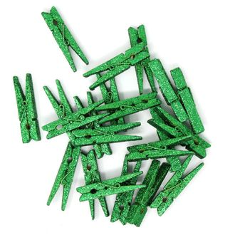2-inch Glitter Craft Wood Clothespins/Peg Pins (48pc, Green Glitter) - Premier