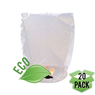 20 Eclipse White ECO Wire-Free Flying Sky (Floating) Lanterns - Premier