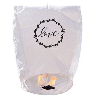 """20 ECO Wire-Free Flying Chinese Sky Lanterns (Set of 20, Wire-Free Eclipse,""""Love Wreath"""") - Premier"""