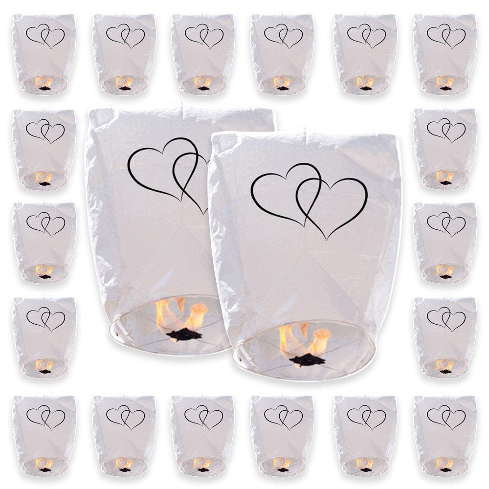 20 ECO Wire-Free Flying Chinese Sky Lanterns (Set of 20, Wire-Free Eclipse, White Hearts) - Premier