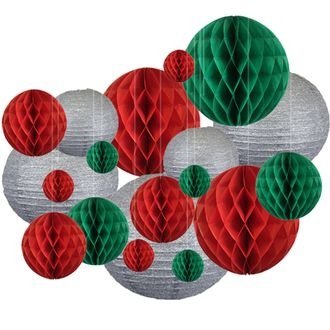 20pc Assorted Silver Glitter Paper Lantern w/Honeycomb Balls Pack (Christmas) - Clear String Included - Premier