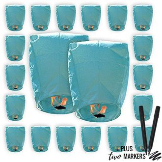 20pcs Mini (22 x 18 inches) ECO Wire-Free Flying Chinese Sky Lanterns with Markers (Set of 20, Eclipse, Blue) - Premier