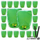20pcs Mini (22 x 18 inches) ECO Wire-Free Flying Chinese Sky Lanterns with Markers (Set of 20, Eclipse, Green) - Premier