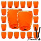 20pcs Mini (22 x 18 inches) ECO Wire-Free Flying Chinese Sky Lanterns with Markers (Set of 20, Eclipse, Orange) - Premier