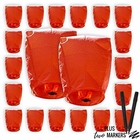 20pcs Mini (22 x 18 inches) ECO Wire-Free Flying Chinese Sky Lanterns with Markers (Set of 20, Eclipse, Red) - Premier