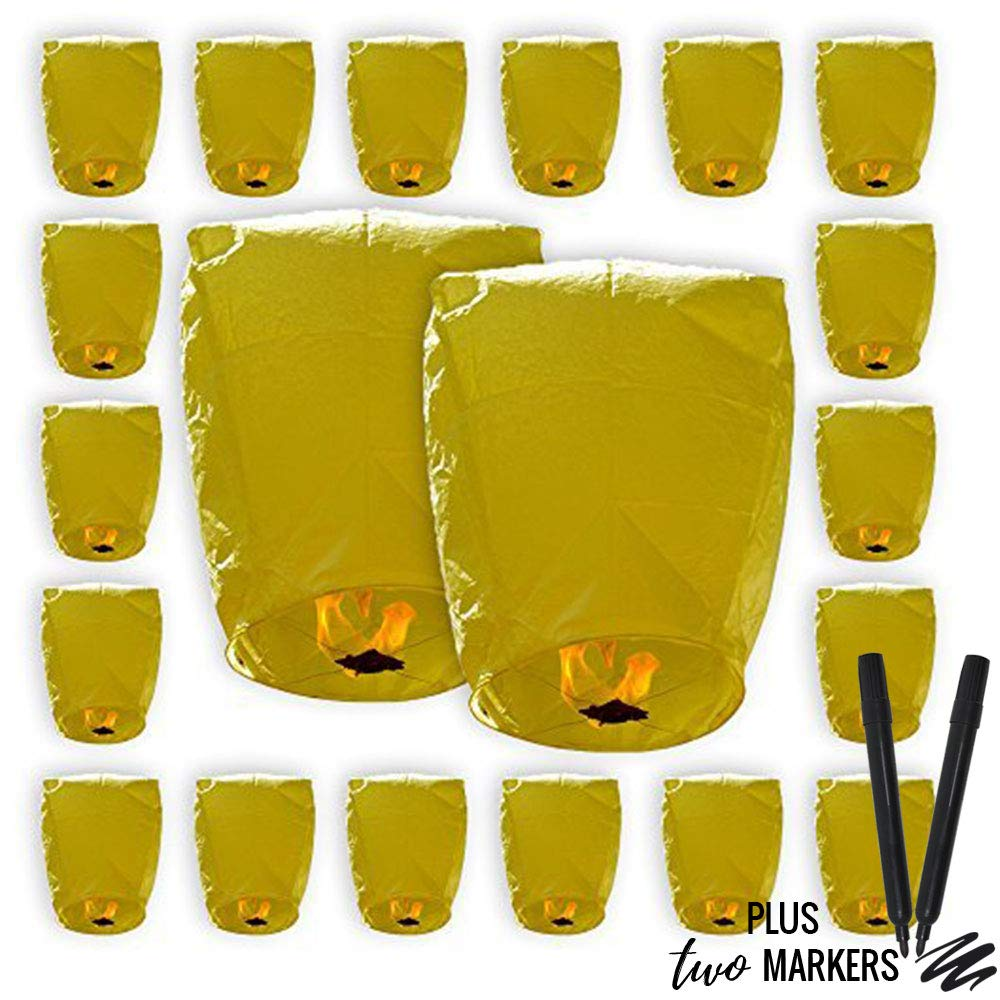 20pcs Mini (22 x 18 inches) ECO Wire-Free Flying Chinese Sky Lanterns with Markers (Set of 20, Eclipse, Yellow) - Premier