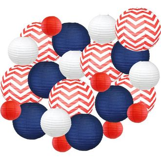 24pc Assorted Decorative Round USA Holiday Paper Lanterns (America) - Premier
