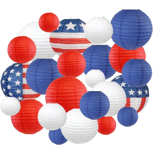 24pc Assorted Decorative Round USA Holiday Paper Lanterns (Home of the Brave) - Premier