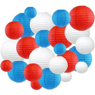 24pc Assorted Decorative Round USA Holiday Paper Lanterns (Red, White & Blue) - Premier