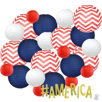 24pc Assorted Paper Lanterns w/ Gold Glitter Garland Letters (Patriotic, #America) - Premier