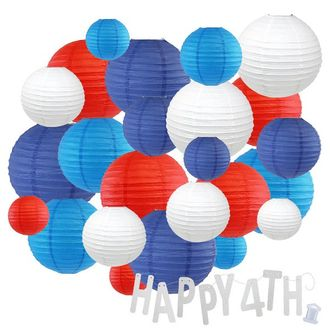24pc Assorted Paper Lanterns w/ Silver Glitter Garland Letters (Liberty, Happy 4th) - Premier
