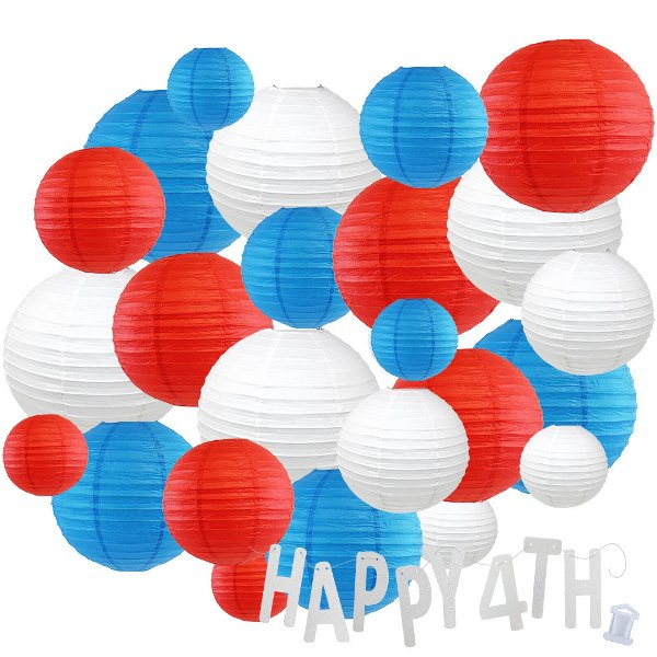 24pc Assorted Paper Lanterns w/ Silver Glitter Garland Letters (Red, White & Blue, Happy 4th) - Premier