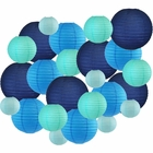 24pcs Assorted Size & Color Paper Lanterns (Color: Blues) - Premier