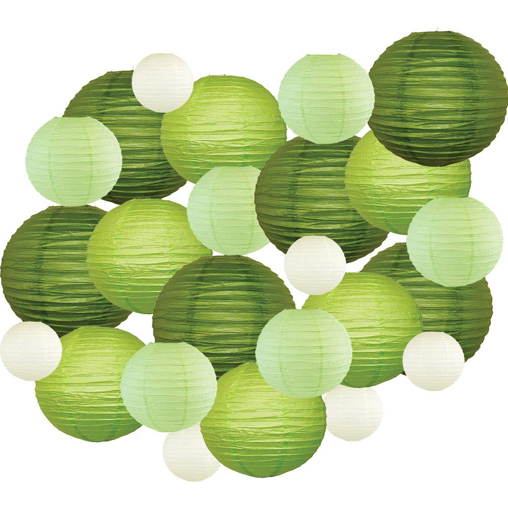 24pcs Assorted Size & Color Paper Lanterns (Color: Greens) - Premier