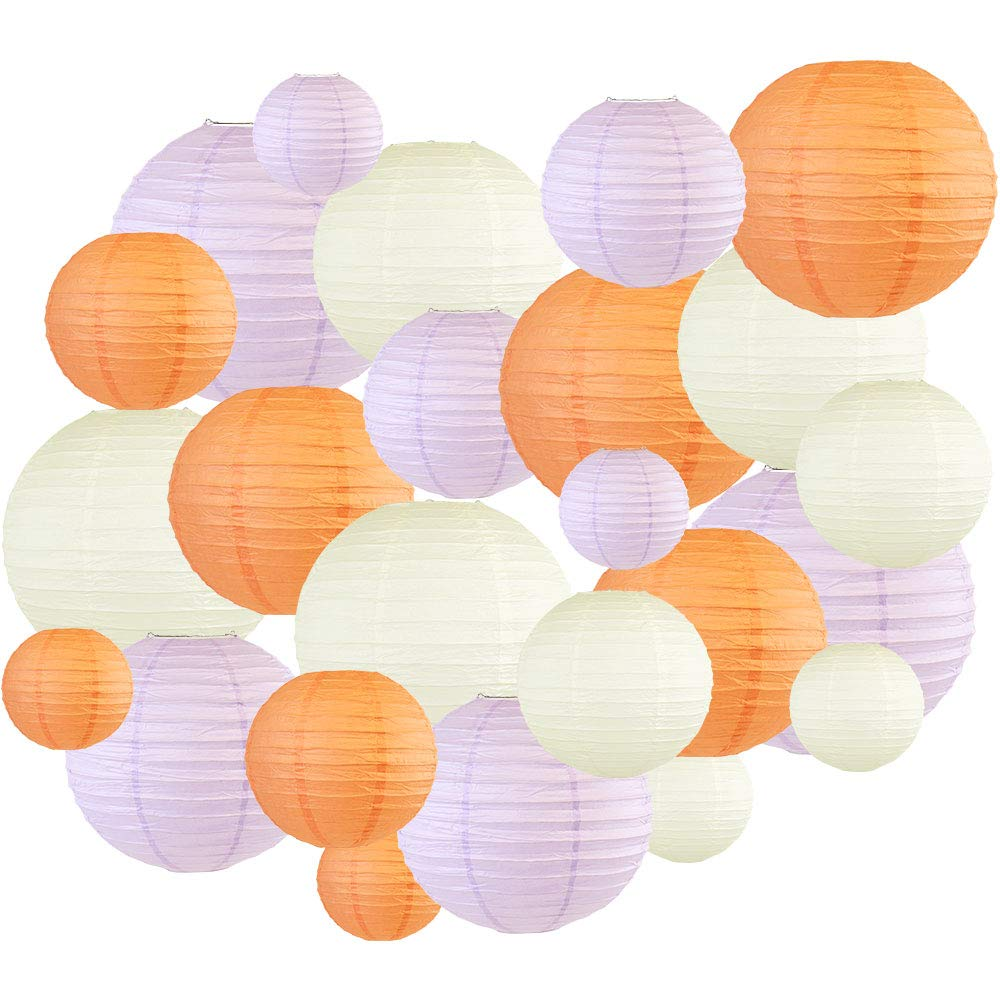 24pcs Assorted Size & Color Paper Lanterns (Color: Peach & Lavender) - Premier