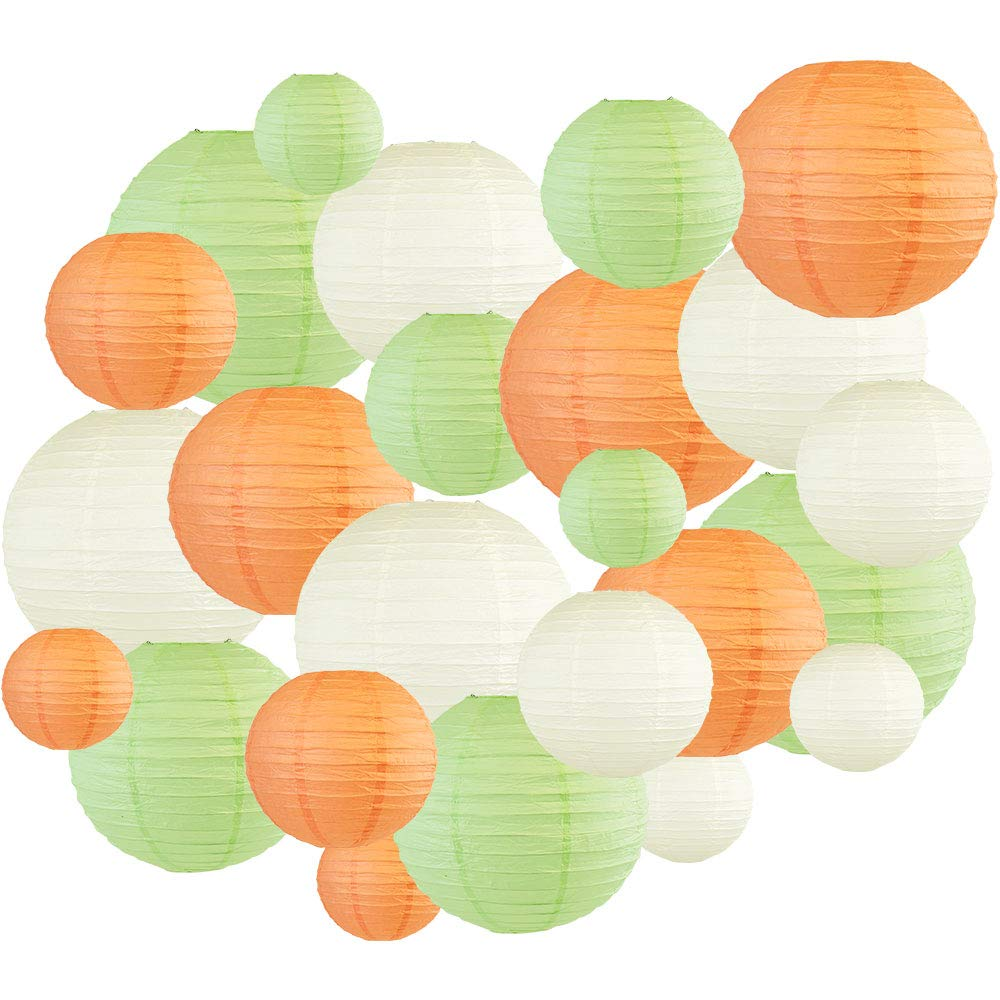 24pcs Assorted Size & Color Paper Lanterns (Color: Peach & Mint Green) - Premier