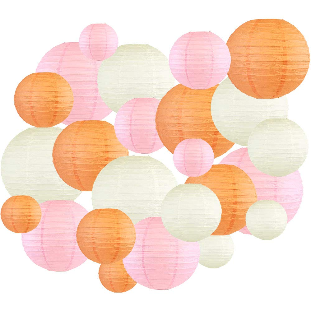 24pcs Assorted Size & Color Paper Lanterns (Color: Peach & Pale Pink) - Premier