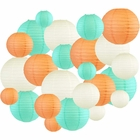 24pcs Assorted Size & Color Paper Lanterns (Color: Peach & Seafoam) - Premier