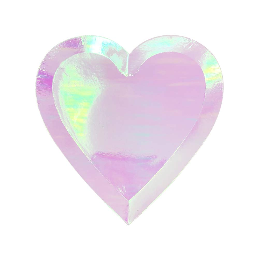 24pcs Iridescent Heart Shaped 7-Inch Party Paper Plates - Premier