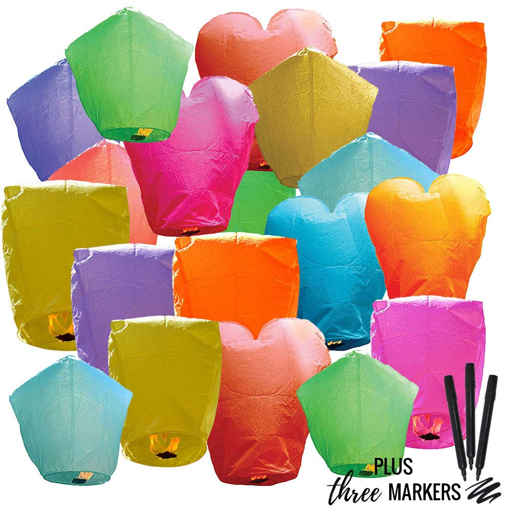 25pc Eco Wire-Free Assorted Chinese Flying Sky Lanterns with Markers (25-Pack, Assorted Shapes & Colors) - Premier