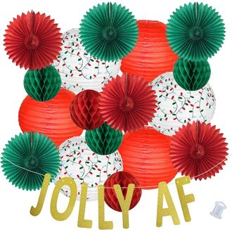 25pcs Christmas Lights Jolly AF Paper Lantern Hanging Kit - Premier