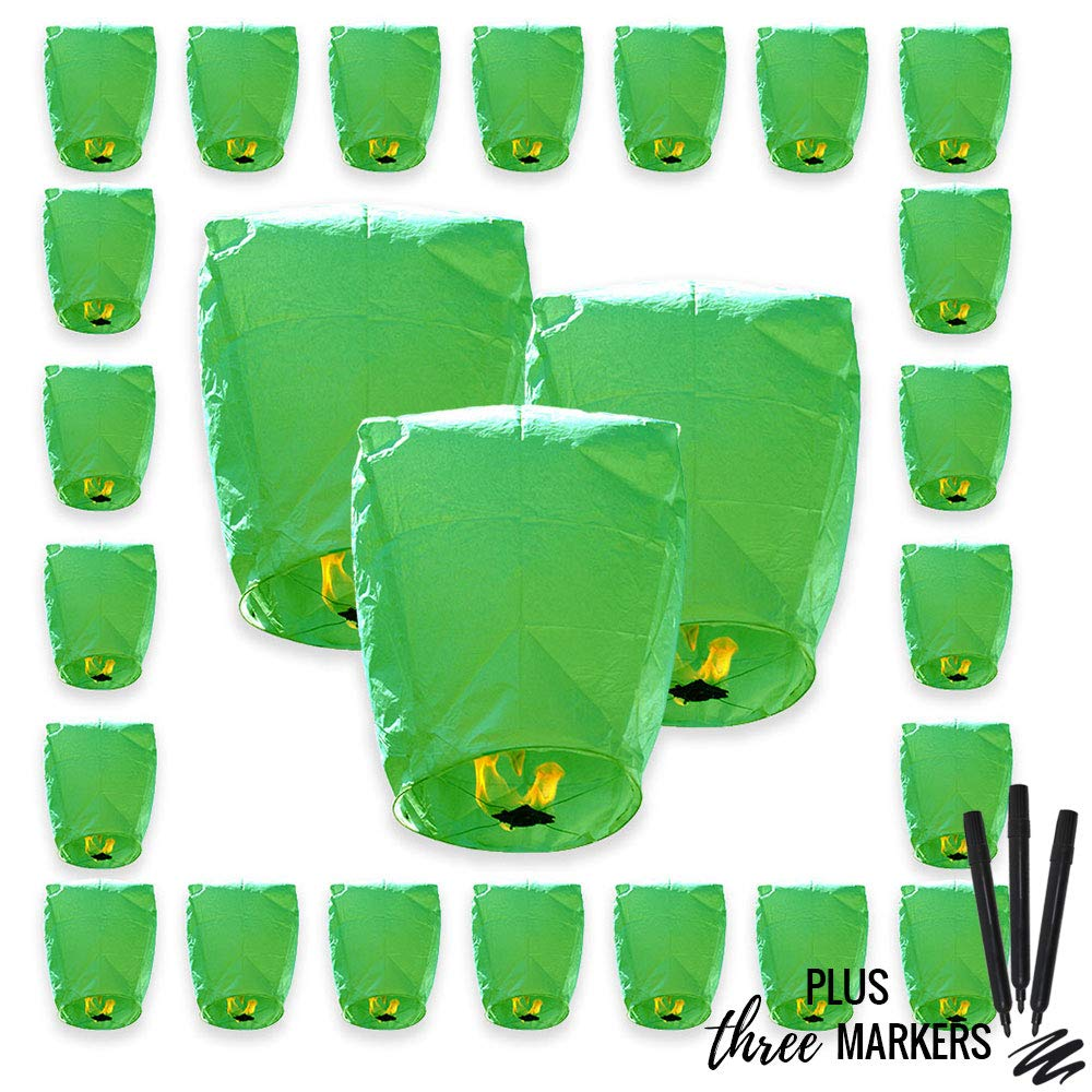 25pcs ECO Wire-Free Flying Chinese Sky Lanterns with Markres (Set of 25, Eclipse, Green) - Premier